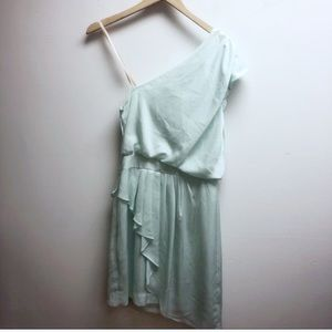 BCBG Dresses - NWT BCBG 4 one shoulder mint ruffle Vanessa dress